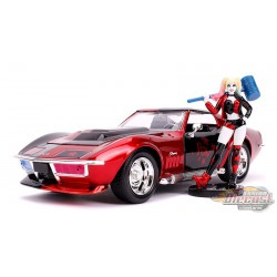 1969 Corvette Stingray with Harley Quinn Figure -  Jada 1/24 - 31196  - Passion Diecast