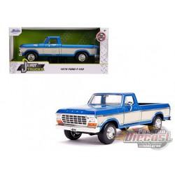 """1979 Ford F-150 Pickup Truck  Blue Metallic and Cream """"Just Trucks"""" Diecast Model - Jada 1/24 - 31587  -  Passion Diecast"""