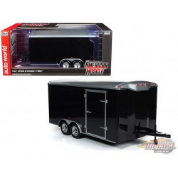 Four Wheel Enclosed Trailer Black with Silver Top  - Auto World / American Muscle 1/18 - AMM1217 -  Passion Diecast