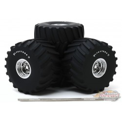 Firestone - 66-Inch Monster Truck Wheel and Tire Set Greenlight  1/18 13558  - Passion Diecast