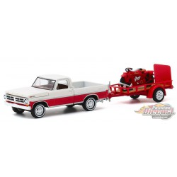 1972 Ford F-100 and Utility Trailer with 1920 Indian Scout Motorcycle - Hitch & Tow 20, 1/64 Greenlight - 32200 A