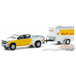 2019 Chevrolet Silverado  Shell Oil Aviation Service with Cargo Trailer - Hitch & Tow 20, 1/64 Greenlight - 32200 D