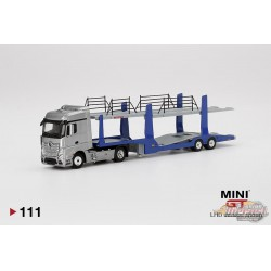 MERCEDES BENZ ACTROS TRUCK, CARS TRANSPORTER SILVER  MINI GT 1/64  -  MGT000111-L  - Passion Diecast