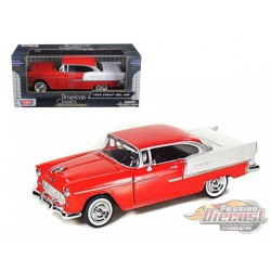 1955 Chevrolet  Bel Air   Red and White - Motormax 1/24 - 73229 RD -  Passion Diecast
