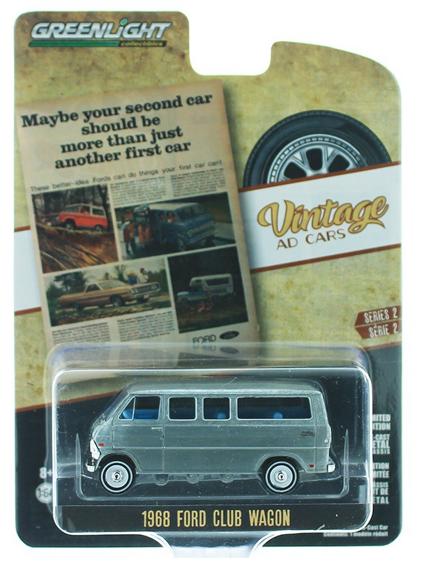 GREENLIGHT 39030 C VINTAGE AD CARS 1968 FORD CLUB WAGON 1//64 DIECAST BLUE