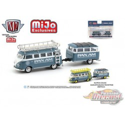 "Volkswagen Bus Deluxe With Trailer "" PAM AM - M2 Machines 1/64 Auto Trailer Mijo Exclusive - 38100-MJS04 -  Passion Diecast"