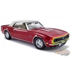 "1968 Chevrolet Camaro SS Rally-Sport ""Unicorn"" Convertible Matador Red / White Interior  / D88 Stripes  - ACME 1/18 - A1805718"