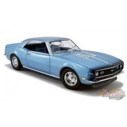 """1968 Chevrolet Camaro SS """"Unicorn"""" Coupé Grotto bleu avec intérieur bleu et bandes D88 - ACME 1/18 - A1805717"""