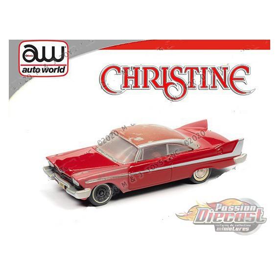 Christine 1958 Plymouth Fury Version partiellement restaurée Edition limitée  - Auto World 1:64 Silver Screen - AWSP039