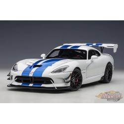 Dodge Viper GTS-R Commemorative Edition ACR 2017 - Pearl White w/ Blue Stripes - Autoart 1/18 - 71732  - Passion Diecast