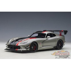 Dodge Viper GTS-R Commemorative Edition ACR 2017 - Metallic Silver / Black Stripe - Autoart 1/18 - 71733   - Passion Diecast