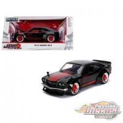 1974 Mazda RX-3 Black  with Red Stripe  -  JADA 1/24 -   30717  -  Passion Diecast