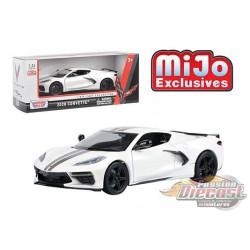 2020 Chevrolet Corvette C8 Stingray White  MiJo Exclusives  - Motormax 1/24 - 79360 WH - Passion Diecast