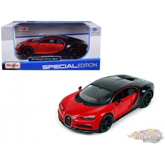 Bugatti Chiron Sport Red / Black Maisto 1/24 -  31524 RD  - Passion Diecast