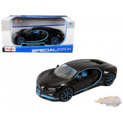 Bugatti Chiron 42 Edition Black with Blue Accent - Maisto 1/24 - 31514 BK42  -  Passion Diecast