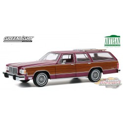 1985 Mercury Grand Marquis Colony Park - Burgundy with Woodgrain Panel Greenlight 1/18  19093 Passion Diecast