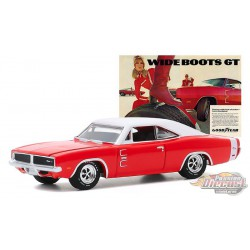 "1969 Dodge Charger - ""Wide Boots GT, The low, wide look of action from Goodyear"" - greenlight 1/64  Hobby Exclusive - 30196"