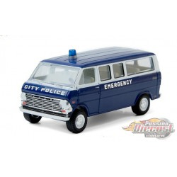 1969 Ford Club Wagon - City Police Emergency  - greenlight 1/64  Hobby Exclusive - 30209  - Passion Diecast