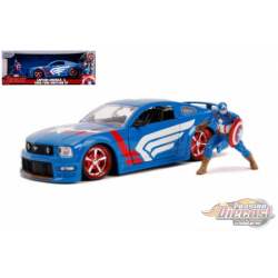 2006 Ford Mustang GT with Captain America Figure  -Marvel Avengers  -  Jada 1/24 - 99733 - Passion Diecast