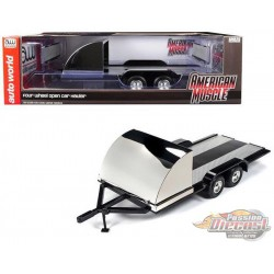 Four Wheel Open Cars Hauler Black Trailer  - Auto World / American Muscle 1/18 -AMM1166 Passion Diecast