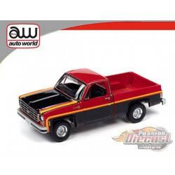 1979 Chevrolet Scottsdale - Red and Black with Yellow Pinstripes - Hemmings Muscle - Auto World - AWSP048 B -  Passion Diecast