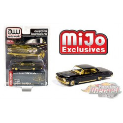 1962 Chevrolet Impala SS Hard Top - Black /gold trim - Lowriders - Auto World 1/64 MiJo Exclusives - CP7656  -  Passion Diecast