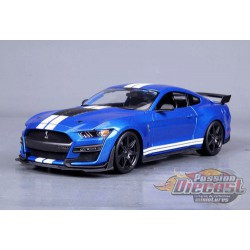 2020  Mustang Shelby GT500 Blue with White Racing Stripes - Maisto 1:/18 - 31388 BL - Passion Diecast