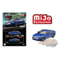 Bentley Continental GT 2018 Sequin Blue -  MINI GT 1:64 - Mijo Exclusive - MGT00094   - Passion Diecast