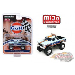 1974 Ford F250 Monster Truck GULF  - greenlight 1/64 Mijo Exclusive - 51288 -  Passion Diecast