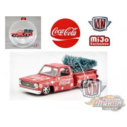 1974 Chevrolet Stepside  with tree - Coca-Cola Ornament- Candy Red/White - M2 Machines 1:64 MiJo Exclusives - 53500-MJS02