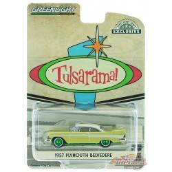 """1957 Plymouth Belvedere - Desert Gold  - """"Tulsarama"""" 1957 Underground Vault - GREENMACHINE 1/64 - Hobby Exclusif - 30157GR"""