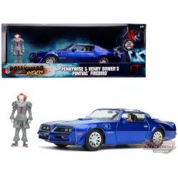 IT - Pontiac Firebird Blue - with Pennywise & Henry Bower's figures -  Jada 1/24 - 31118 - Passion Diecast