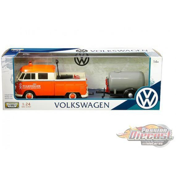Volkswagen Type 2 (T1) Serivce Pickup avec remorque pétrolière orange/beige- Motormax 1-24 - 79674 MJ - Passion Diecast