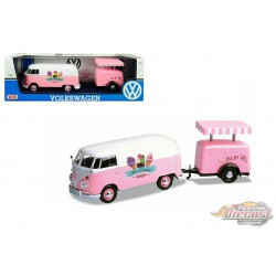 Volkswagen Type 2  Delivery Van with Ice-Cream Trailer, Pink and White  Ice-Cream Shop -  Motormax 1-24 -  79672 MJ - Diecast