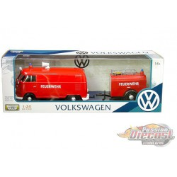 Volkswagen Type 2 (T1)Fire Truck with Trailer Red -  Motormax 1-24 -  79671 MJ - Passion Diecast
