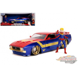 1973 Ford Mustang Mach 1  with  Captain Marvel  Figure - Marvels Avengers - Jada 1/24 - 31193 - Passion Diecast
