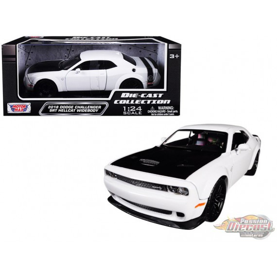 2018 Dodge Challenger SRT Hellcat Widebody White - Motormax 1/24 - 79350 WH - Passion Diecast