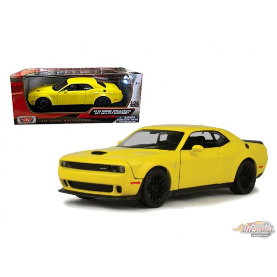 2018 Dodge Challenger SRT Hellcat Widebody Yellow - Motormax 1/24 - 79350 YL - Passion Diecast