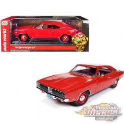 1969 Dodge Charger R/T Hardtop,  Red  Autoworld -1-18 -  AMM1174 -  Passion Diecast