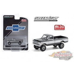 1969 Chevrolet K10 Pickup Truck 4x4 - Black & Silver  - greenlight 1/64 - MiJo Exclusives - 51337 - Passion Diecast