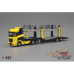 MERCEDES BENZ ACTROS TRUCK, CARS TRANSPORTER YELLOW MINI GT 1/64  -  MGT00137