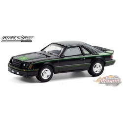 1980 Ford Mustang Cobra - Black w Green Cobra Hood  - greenlight 1/64  Hobby Exclusive - 30228 - Passion Diecast