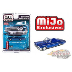 1962 Chevy Impala SS Convertible Blue - Lowriders - Auto World 1/64 MiJo Exclusives - CP7662 - Passion Diecast