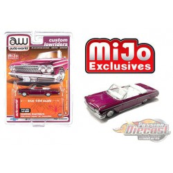 1962 Chevy Impala SS Convertible  Plum - Lowriders - Auto World 1/64 MiJo Exclusives - CP7662 - Passion Diecast