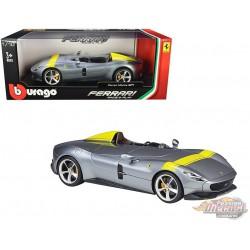 Ferrari Monza SP1 Silver  with Yellow Stripes -  Bburago 1/18 -  18-16013 - Passion Diecast