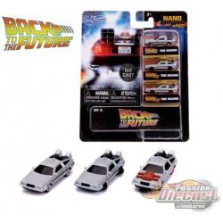Delorean Time Machine  - Back to the Future  set of 3 -  Jada Nano - 31583 - Passion Diecast