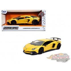 """Lamborghini Aventador SV  Yellow  """"Hyper-Spec"""" - Jada 1/24 - 32258 - Passion Diecast"""