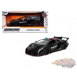 """Lamborghini Veneno S.W.A.T. Matte Black  """"Hyper-Spec"""" - Jada 1/24 - 32261  - Passion Diecast"""