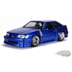 """1989 Ford Mustang GT  Blue   """"Bigtime Muscle"""" - Jada 1/24 - 31863 - Passion Diecast"""