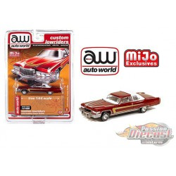 1976 Cadillac Coupe Deville Burgundy - Lowriders - Auto World 1/64 MiJo Exclusives - CP7661  - Passion Diecast